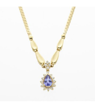Necklaces - 0.68 Carat Pear Cut Tanzanite and Diamond Necklace 14Kt White Gold