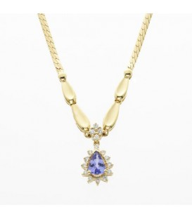 More about 0.85 Carat Pear Cut Tanzanite and Diamond Necklace 14Kt White Gold