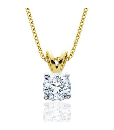 Necklaces - 0.75 Carat Diamond Solitaire Necklace 18Kt Yellow Gold