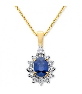 Necklaces - 0.80 Carat Oval Cut Sapphire and Diamond Necklace 14Kt Tone Gold