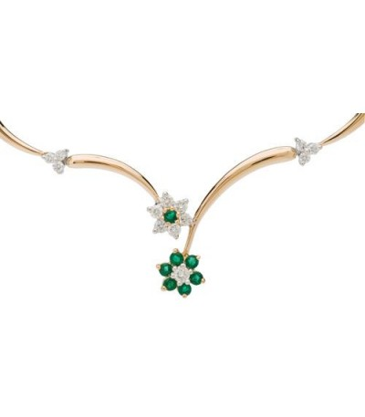 Necklaces - 0.28 Carat Round Cut Emerald and Diamond Necklace 14Kt Tone Gold
