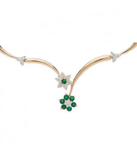 More about 0.91 Carat Round Cut Emerald and Diamond Necklace 14Kt Yellow Gold