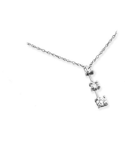 Necklaces - 0.50 Carat Round Cut Diamond Necklace 14Kt White Gold