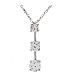 More about 1.00 Carat Round Cut Diamond Necklace 14Kt White Gold