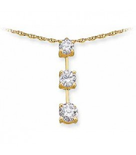 Necklaces - 1.00 Carat Round Cut Diamond Necklace 14Kt Yellow Gold