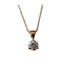 Necklaces - 0.25 Carat Round Cut Tanzanite Pendant 14Kt Yellow Gold