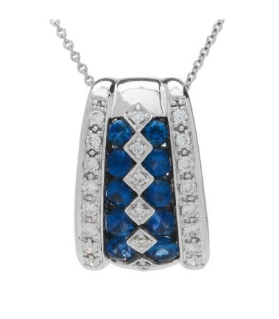 Necklaces - 1.15 Carat Round Cut Sapphire and Diamond Slide in 14Kt White Gold
