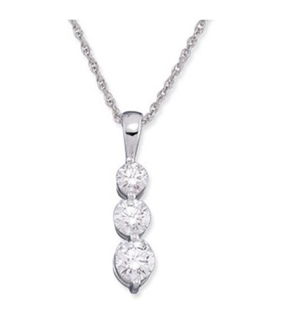Necklaces - 0.50 Carat Round Cut Diamond Necklace in 18Kt White Gold