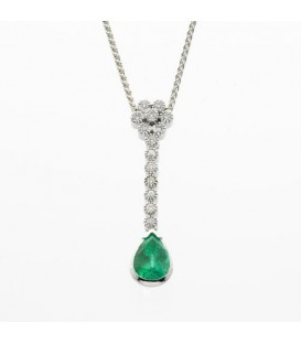 Necklaces - 1.11 Carat Pear Cut Colombian Emerald and Diamond Pendant in 18Kt White Gold