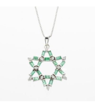 Necklaces - 1.11 Carat Emerald Cut Emerald and Diamond Pendant in 14Kt White Gold