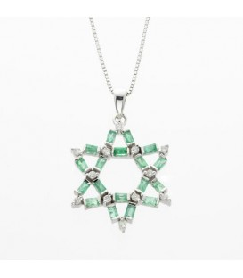 More about 1.28 Carat Emerald Cut Emerald and Diamond Pendant in 14Kt White Gold