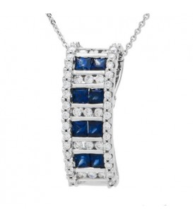 Necklaces - 1.12 Carat Princess Cut Sapphire and Diamond Slide in 14Kt White Gold