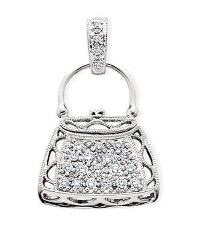 Necklaces - 0.27 Carat Round Cut Diamond Pendant in 14Kt White Gold