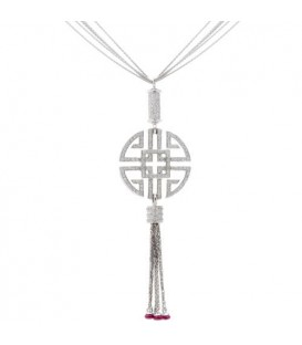 More about 2.26 Carat Round Cut Ruby and Diamond Necklace in 14Kt White Gold
