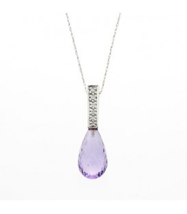 Necklaces - 5.25 Carat Round Cut Amethyst and Diamond Pendant in 14Kt White Gold