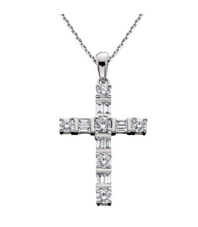 Necklaces - 1.13 Carat Round Cut Diamond Cross Pendant in 14Kt White Gold