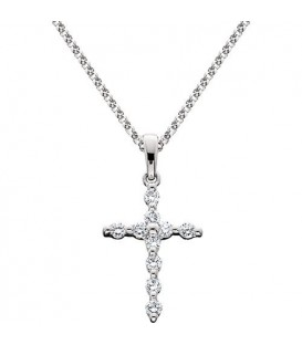 Necklaces - 0.25 Carat Round Cut Diamond Cross Pendant in 14Kt White Gold