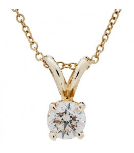 Necklaces - 0.50 Carat Round Cut Diamond Solitiare Necklace in 14Kt Yellow Gold
