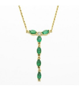 Necklaces - 1.56 Carat Round Cut Emerald and Diamond Necklace in 18Kt Yellow Gold