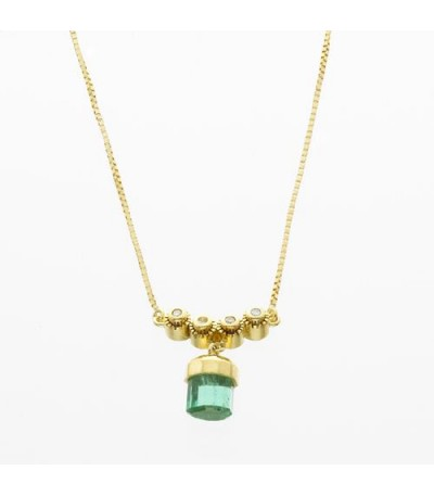 Necklaces - 1.19 Carat Round Cut Emerald and Diamond Necklace in 18Kt Yellow Gold