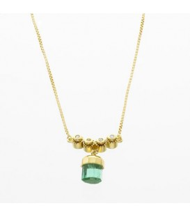 Necklaces - 1.15 Carat Round Cut Emerald and Diamond Necklace in 18Kt Yellow Gold