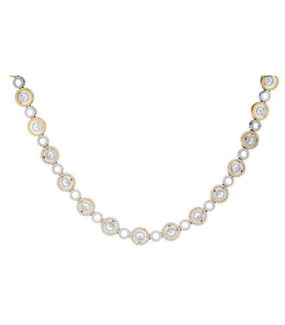 Necklaces - 0.68 Carat Round Cut Diamond Necklace in 14Kt Two Tone Gold