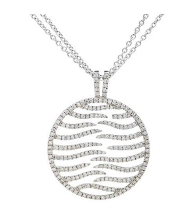 Necklaces - 0.87 Carat Round Cut Diamond Necklace in 14Kt White Gold
