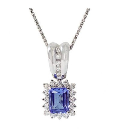 Necklaces - 3.01 Carat Heart Cut Tanzanite Pendant 14Kt White Gold