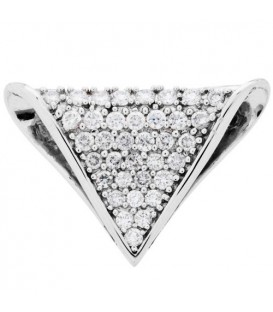 Necklaces - 1.00 Carat Round Cut Diamond Slide Pendant in 14Kt White Gold