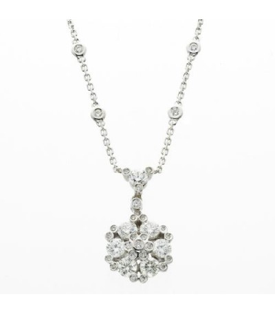 Necklaces - 1.66 Carat Round Cut Gregg Ruth Diamond Necklace in 18Kt White Gold