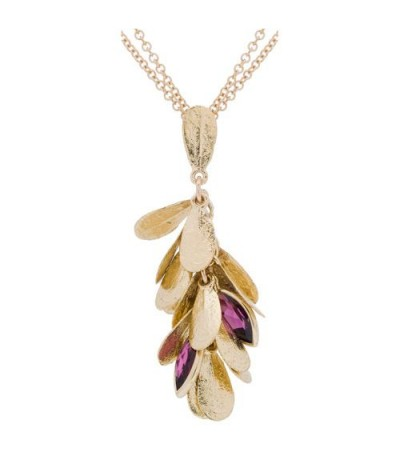 Necklaces - 0.90 Carat Marquise Cut Garnet Necklace in 14Kt Yellow Gold