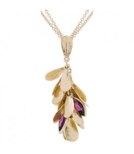 More about 0.90 Carat Marquise Cut Garnet Necklace in 14Kt Yellow Gold