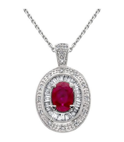 Necklaces - 1.37 Carat Ruby and Diamond Pendant 14Kt White Gold