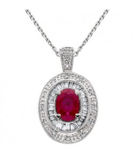 1.37 Carat Ruby and Diamond Pendant 14Kt White Gold