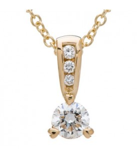 Necklaces - 0.33 Carat Diamond Solitaire Necklace 18Kt Yellow Gold