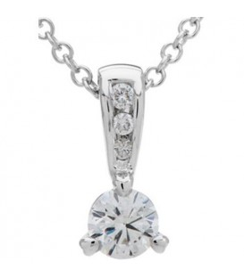 0.33 Carat Diamond Solitaire Necklace 18Kt White Gold