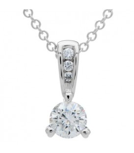 Necklaces - 0.50 Carat Diamond Solitaire Necklace 18Kt White Gold
