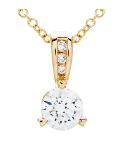 Necklaces - 0.71 Carat Round Cut Diamond Solitiare Necklace in 14Kt White Gold