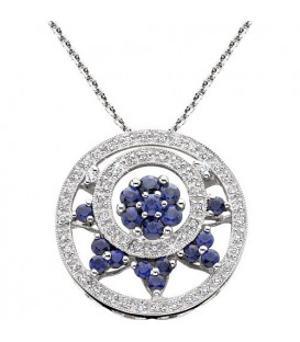 Necklaces - 0.76 Carat Round Cut Sapphire and Diamond Necklace in 18Kt White Gold