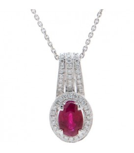 More about 1.38 Carat Oval Cut Ruby and Diamond Pendant in 14Kt White Gold