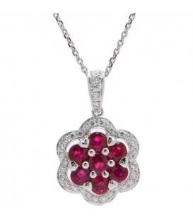 Necklaces - 1.34 Carat Round Cut Ruby and Diamond Necklace in 14Kt White Gold