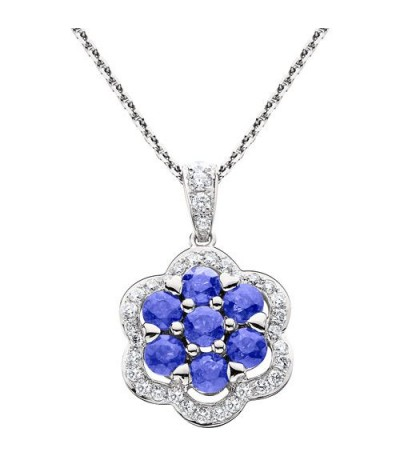 Necklaces - 1.00 Carat Round Cut Sapphire and Diamond Necklace in 14Kt White Gold