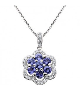 Necklaces - 1.00 Carat Round Cut Tanzannite and Diamond Necklace in 14Kt White Gold