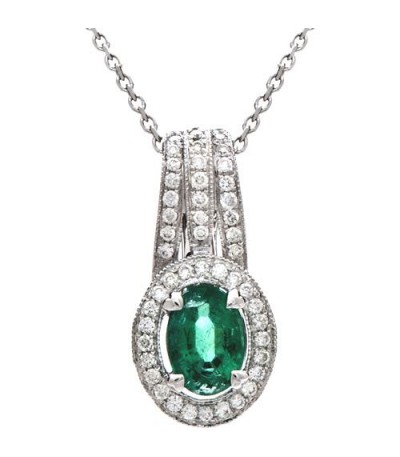 Necklaces - 0.75 Carat Round Cut Emerald and Diamond Necklace in 14Kt White Gold