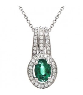 More about 1.08 Carat Round Cut Emerald and Diamond Necklace in 14Kt White Gold