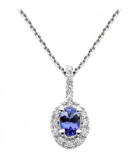 Necklaces - 0.60 Carat Oval Cut Tanzanite and Diamond Necklace in 14Kt White Gold