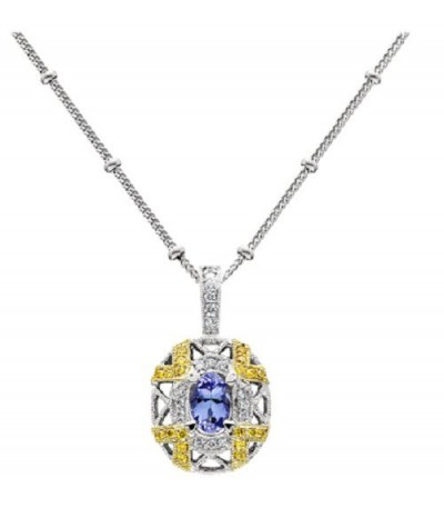 Necklaces - 0.44 Carat Oval Cut Tanzanite and Diamond Necklace in 18Kt Two Tone Gold