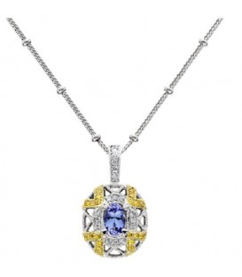 More about 0.60 Carat Oval Cut Tanzanite and Diamond Necklace in 18Kt Two Tone Gold
