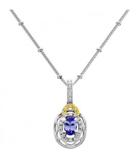 More about 0.53 Carat Oval Cut Tanzanite and Diamond Necklace in 18Kt Two Tone Gold