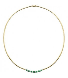 Necklaces - 1.06 Carat Round Cut Emerald and Diamond Necklace in 14Kt Two Tone Gold